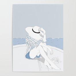 Blue Stripes & Boats Fashion Girl Poster