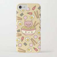 ramen iPhone & iPod Cases featuring Pig-Chan Ramen Soak by 100% Soft