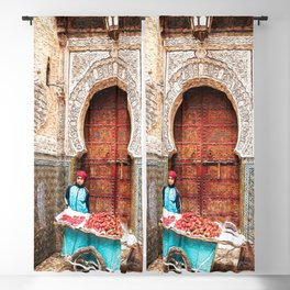 Strawberries in the Medina, Morocco Oil Paint Blackout Curtain