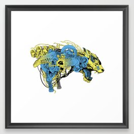Roaring beast color Framed Art Print
