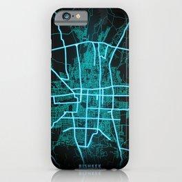 Bishkek, Kyrgyzstan, Blue, White, Neon, Glow, City, Map iPhone Case