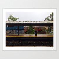 Subway Station. - Somewhere in south Brooklyn.  Art Print