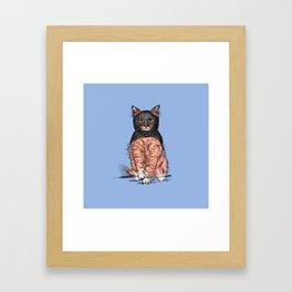 Periwinkle Pink Bat Cat Framed Art Print