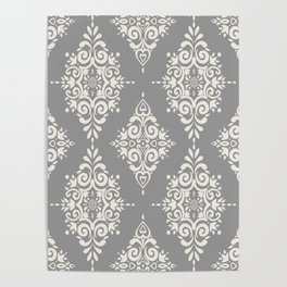 Modern Floral Damask Pattern – Neutral Medium Gray and Light Beige Poster