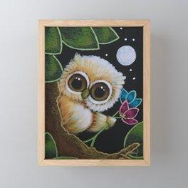 TINY BLONDIE OWL - FLOWERS FOR MY MOM Framed Mini Art Print