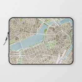 Boston Sepia Watercolor Map Laptop Sleeve