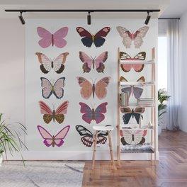 Pink Butterflies Wall Mural