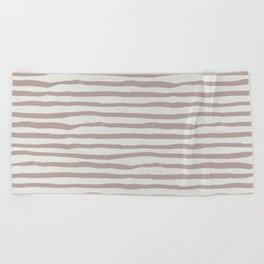 Simply Shibori Stripes Clay Pink on Lunar Gray Beach Towel
