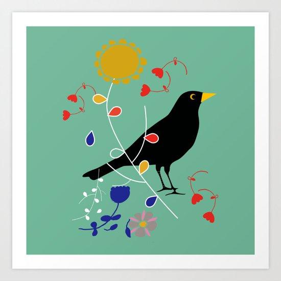 Black Bird Green Art Print