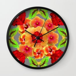 Kiwi Green Butterflies Red-Golden-pink Tropical Hibiscus Abstract Art Wall Clock