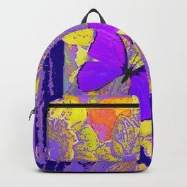 PURPLE AMETHYST  BUTTERFLIES GOLDEN FLORALS ABSTRACT Backpack