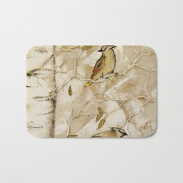Cedar Waxwings in Birch Tree Bath Mat
