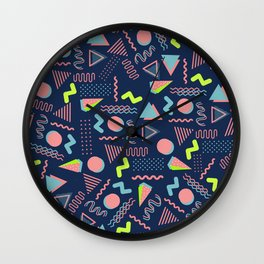 Geometrical lime green coral navy blue 80's pattern Wall Clock