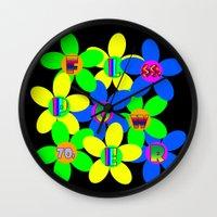 60s Wall Clocks featuring Flower Power 60s-70s by dedmanshootn