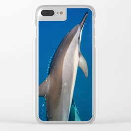 Dolphin Bubbles Clear iPhone Case