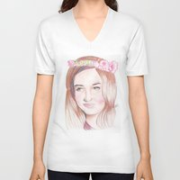karen V-neck T-shirts featuring Karen Gillan by Gillian McMahon