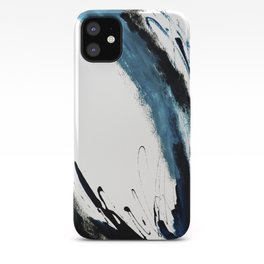 Reykjavik: a pretty and minimal mixed media piece in black, white, and blue iPhone Case