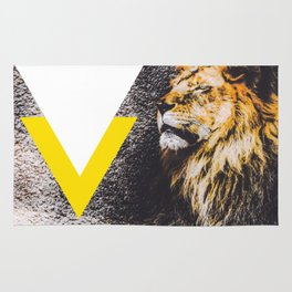 lion with yellow and white triangle Rug