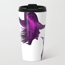 DIVA WITH HAT and Lipstick - PAINTED - Gorgeous VIOLET Travel Mug