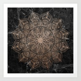 Mandala - rose gold and black marble 4 Art Print