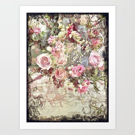 Shabby Chic Rococo Roses Art Print