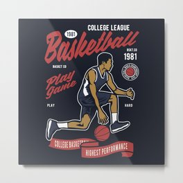 Basketball College League by ANIMOX Metal Print