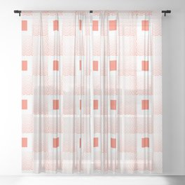 Rachel's Wavy Coral Pattern Sheer Curtain