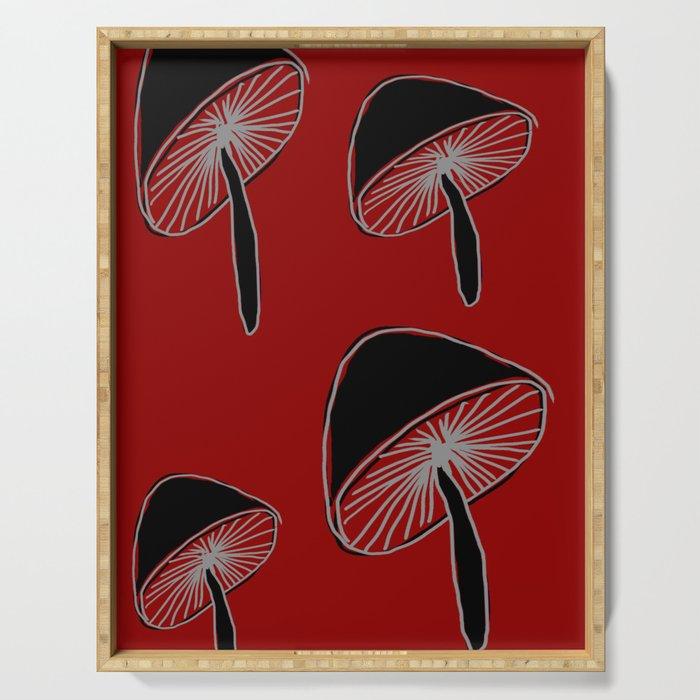 Whimsical Mushrooms #Pattern #Nature #DigitalArt Serving Tray