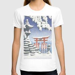 Itsukushima Shrine, Miyajima In Snow - Vintage Japanese Woodblock Print Art T-shirt