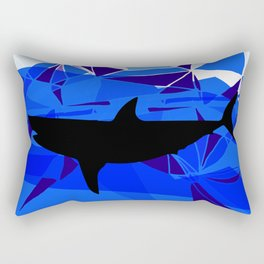 Shark art Geometric art Blue sea ocean art Triangles art Rectangular Pillow