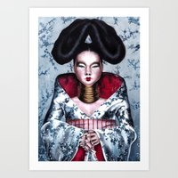 bjork Art Prints featuring BJORK by Denda Reloaded