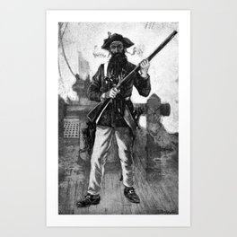 Blackbeard at attention with rifle Art Print