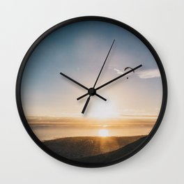 Sunset Paragliding over beach and mountains Wall Clock