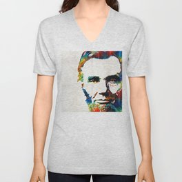 Abraham Lincoln Art - Colorful Abe - By Sharon Cummings Unisex V-Neck