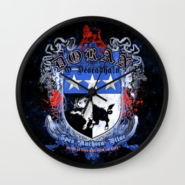 Doran Coat of Arms with motto Wall Clock