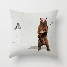 Bear with a shotgun Throw Pillow