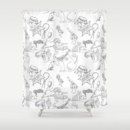 Cowboy Old West Dog Collage Shower Curtain
