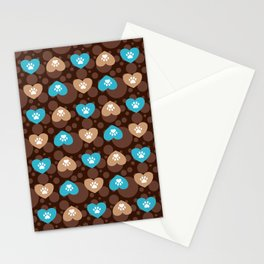Brown and Blue Hearts and Paw Prints Pattern Stationery Cards