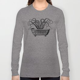 Tentacles in the Tub | Octopus | Black and White Long Sleeve T-shirt