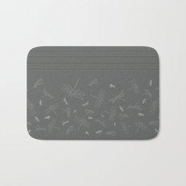 Dragonfly Pattern on Warm Grey Bath Mat