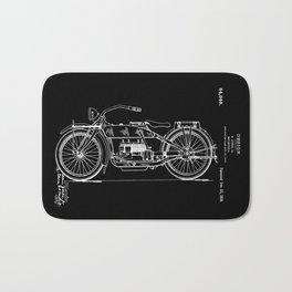 1919 Motorcycle Patent Black White Bath Mat