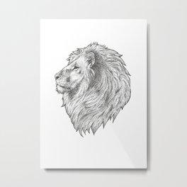 Lion Head - Stippled Metal Print
