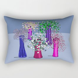 Flowers and Five Vases Rectangular Pillow