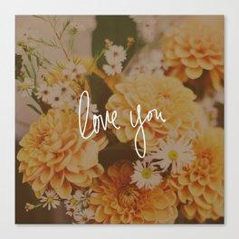 Love You x Orange Floral Canvas Print