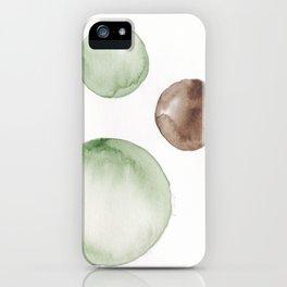 18|181104 Australian Leaf Green & Brown Earth Orbs | Watercolour Circle Abstract Geometrical iPhone Case