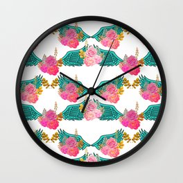 Wings and Roses Turquoise White Wall Clock
