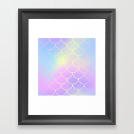 Pink Blue Mermaid Tail Abstraction Framed Art Print