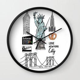 New York City Doodle Wall Clock