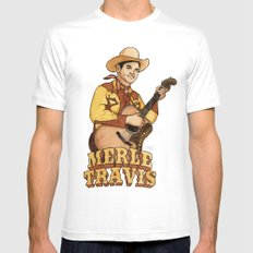 Merle Travis White LARGE Mens Fitted Tee