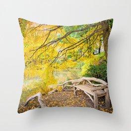 Autumn Bench Meadow Throw Pillow